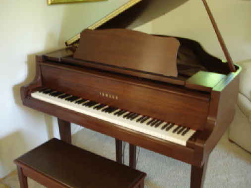 Front view of piano